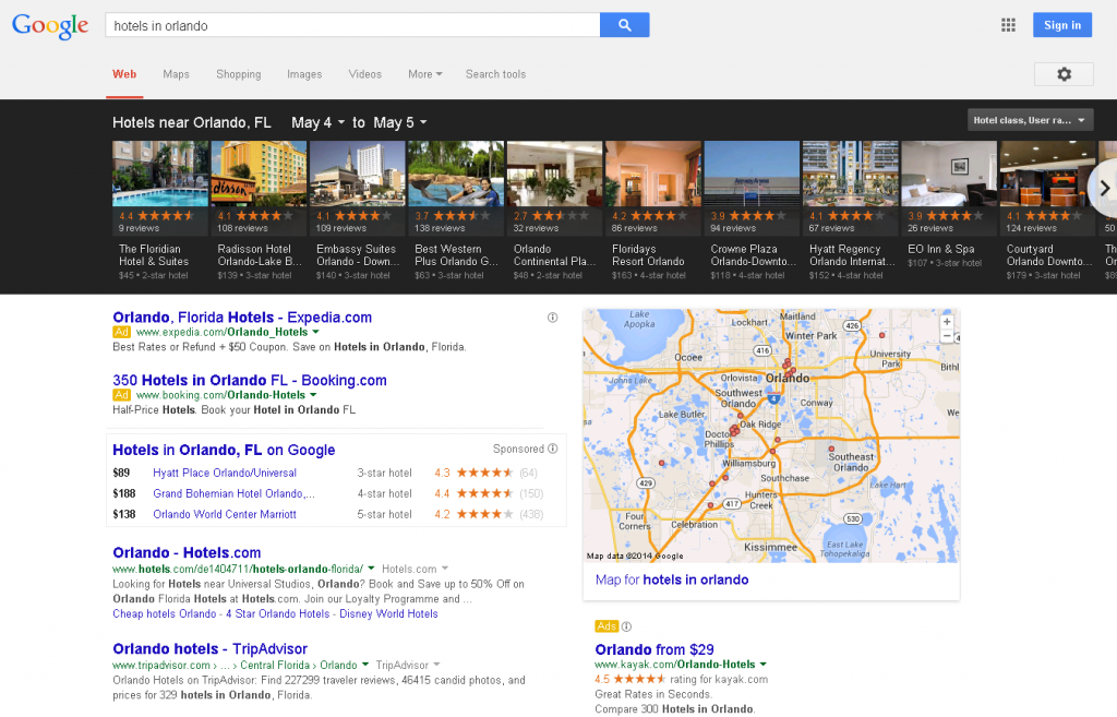 hotels in orlando Google Carousel Search