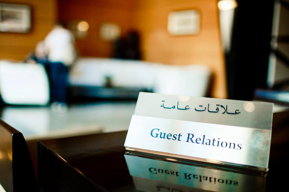 Guest relations desk at hotel